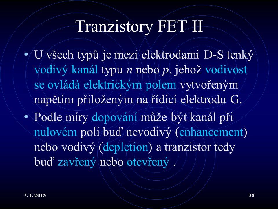 Tranzistory FET II