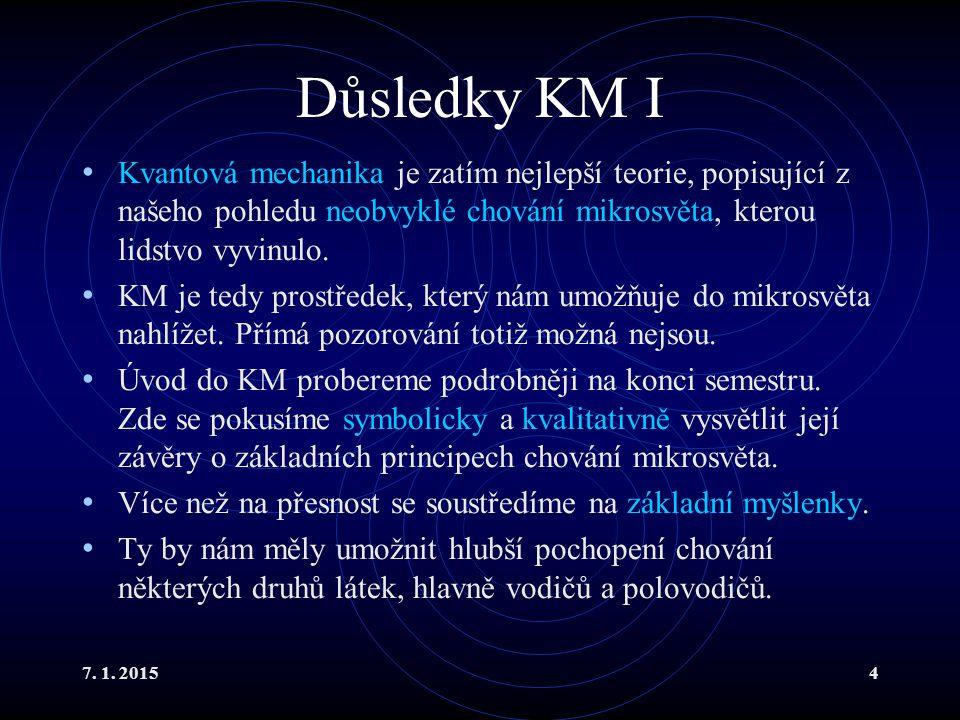 Důsledky KM I Kvantová mechanika je zatím nejlepší teorie, popisující z našeho pohledu neobvyklé chování mikrosvěta, kterou lidstvo vyvinulo.