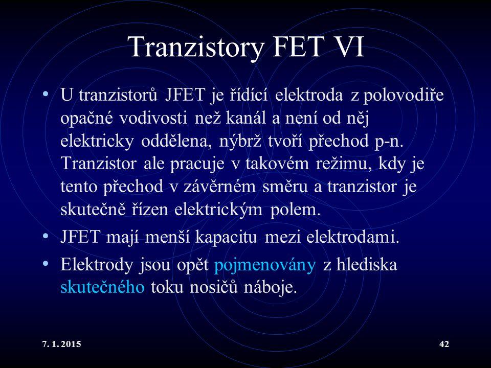 Tranzistory FET VI