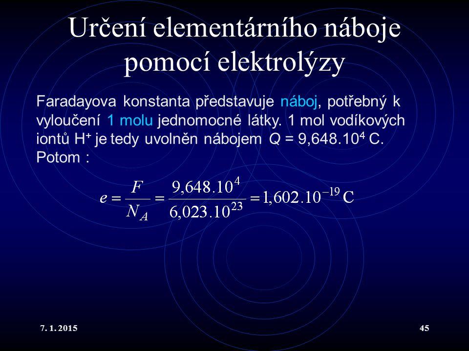 Určení elementárního náboje pomocí elektrolýzy