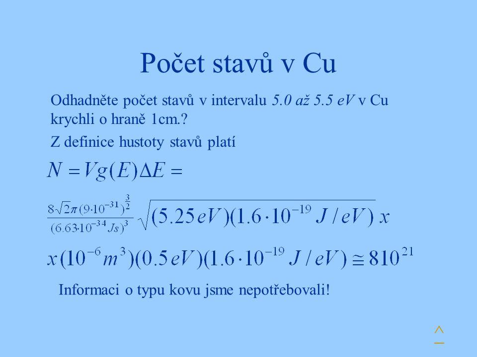 Počet stavů v Cu Odhadněte počet stavů v intervalu 5.0 až 5.5 eV v Cu krychli o hraně 1cm. Z definice hustoty stavů platí.