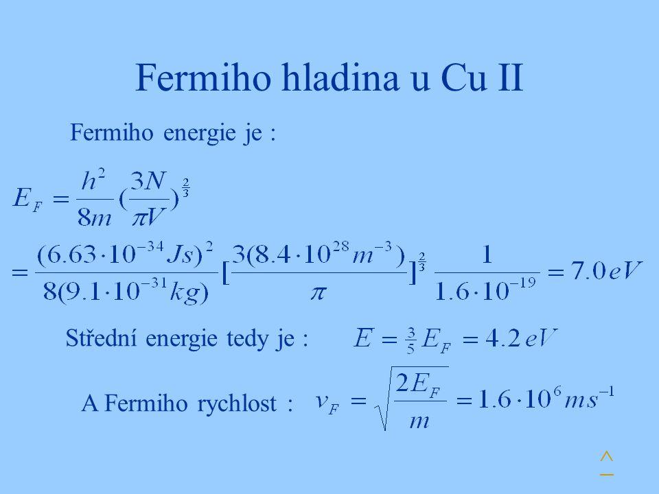Fermiho hladina u Cu II ^ Fermiho energie je :