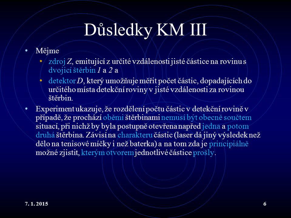 Důsledky KM III Mějme. zdroj Z, emitující z určité vzdálenosti jisté částice na rovinu s dvojicí štěrbin 1 a 2 a.