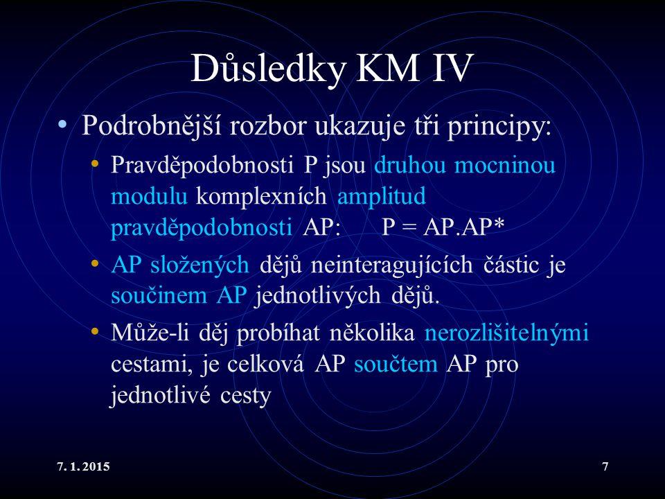 Důsledky KM IV Podrobnější rozbor ukazuje tři principy: