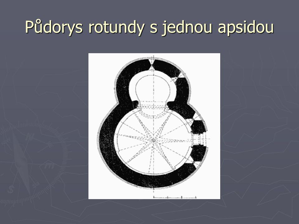 Půdorys rotundy s jednou apsidou