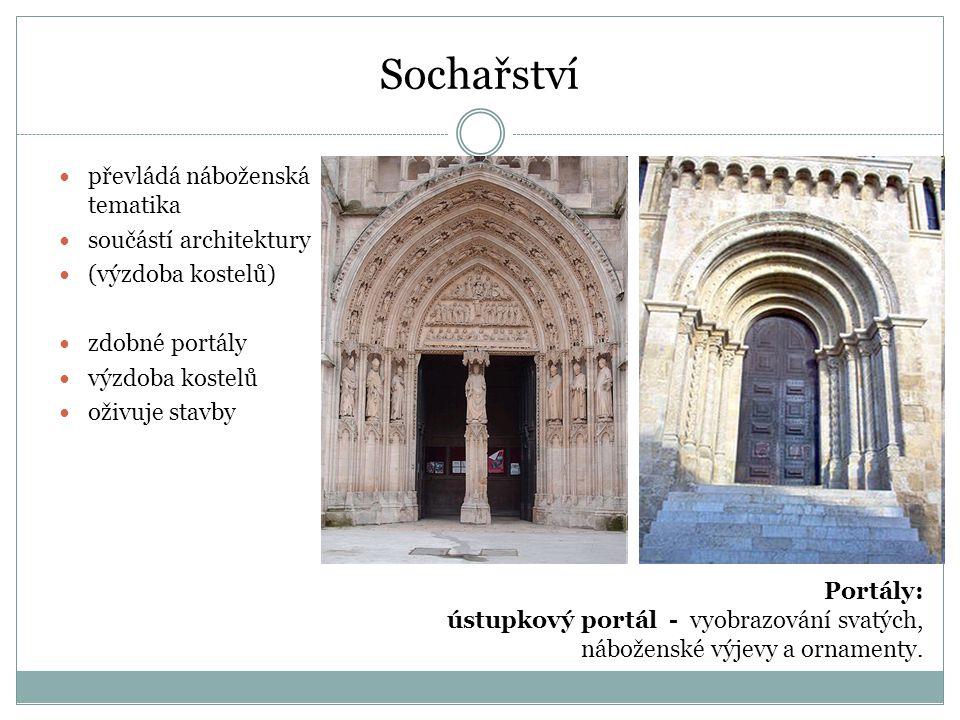 Sochařství převládá náboženská tematika součástí architektury
