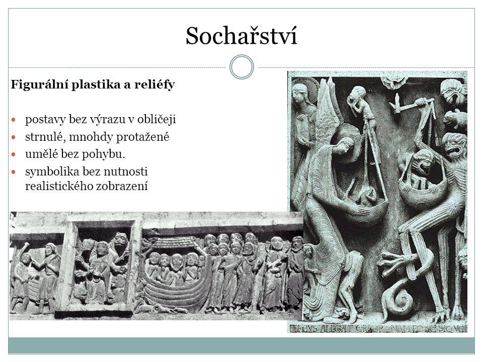 Sochařství Figurální plastika a reliéfy postavy bez výrazu v obličeji