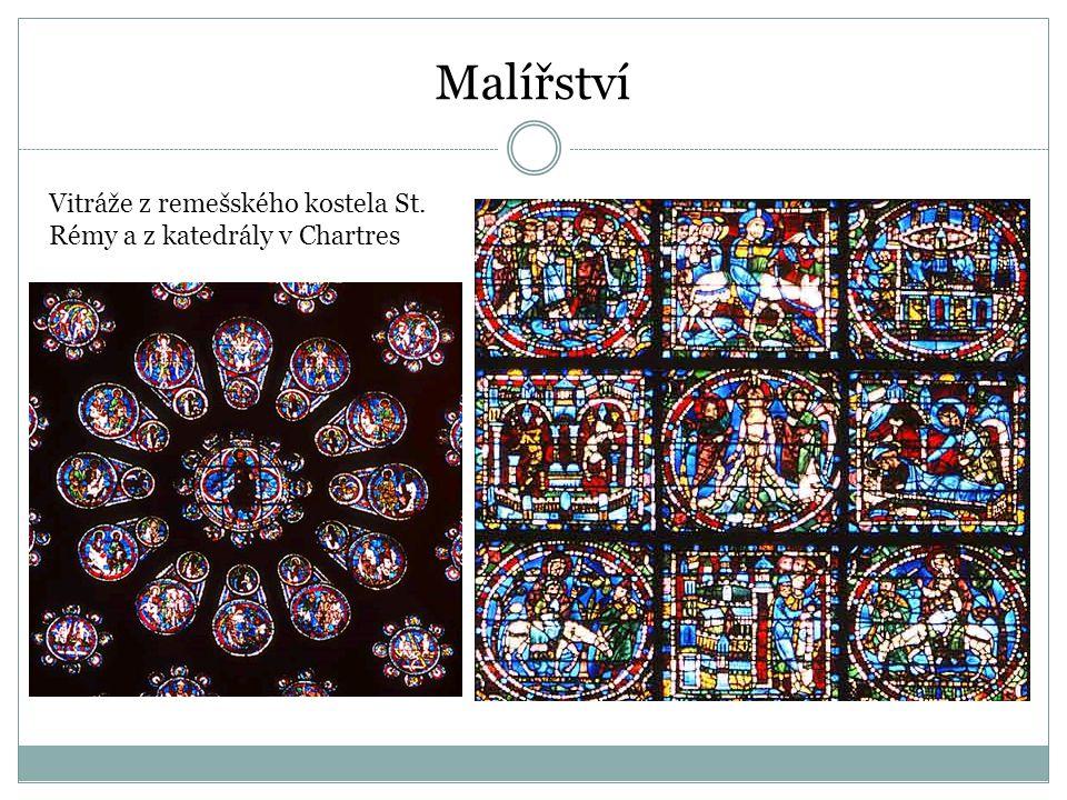 Malířství Vitráže z remešského kostela St. Rémy a z katedrály v Chartres