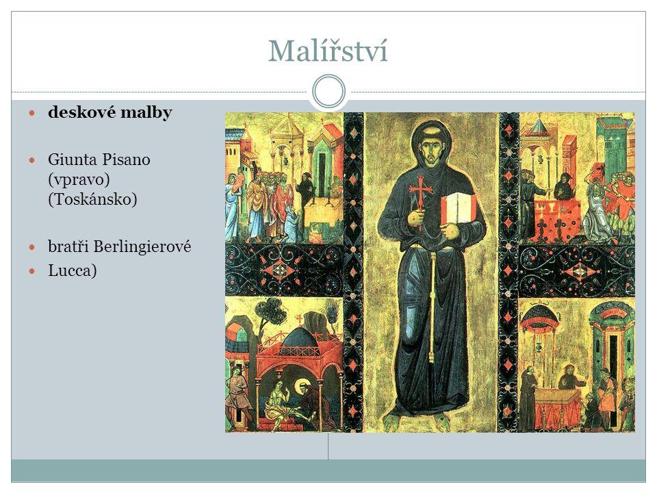 Malířství deskové malby Giunta Pisano (vpravo) (Toskánsko)