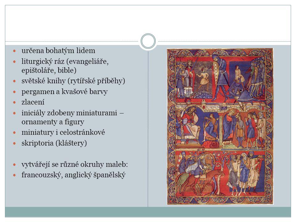 určena bohatým lidem liturgický ráz (evangeliáře, epištoláře, bible) světské knihy (rytířské příběhy)
