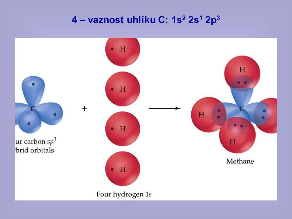 4 – vaznost uhlíku C: 1s2 2s1 2p3