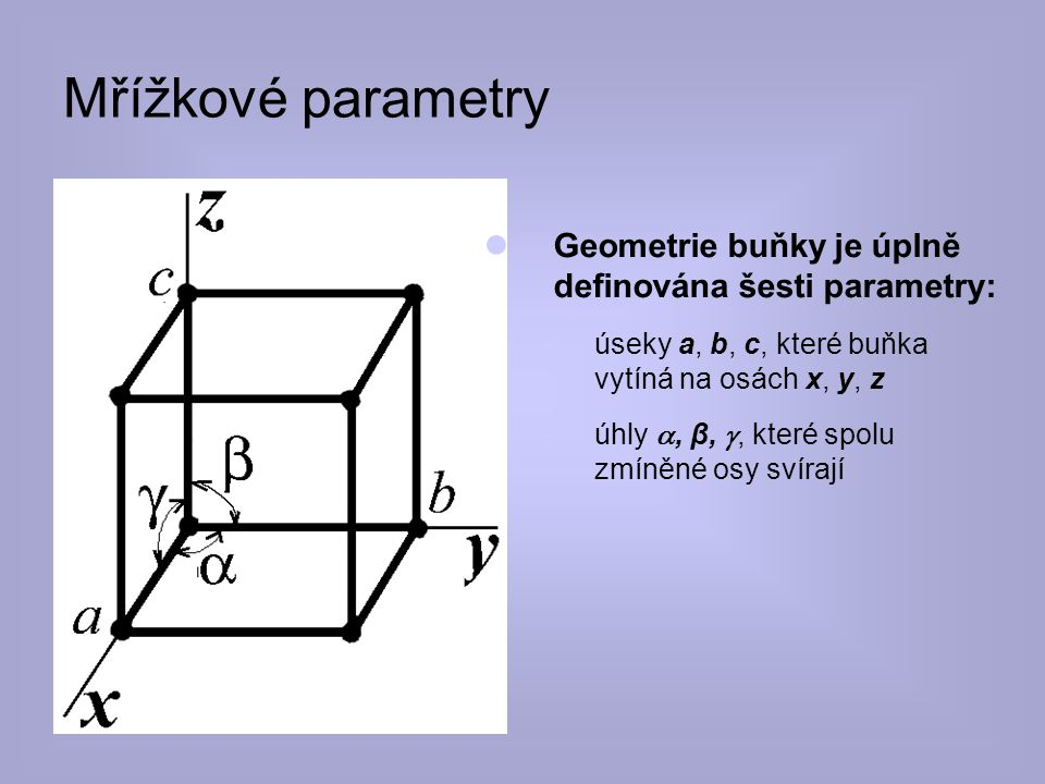 8.4.2017 Mřížkové parametry. Geometrie buňky je úplně definována šesti parametry: úseky a, b, c, které buňka vytíná na osách x, y, z.