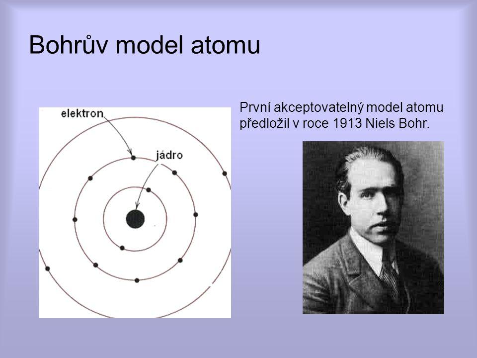 8.4.2017 Bohrův model atomu. První akceptovatelný model atomu předložil v roce 1913 Niels Bohr.