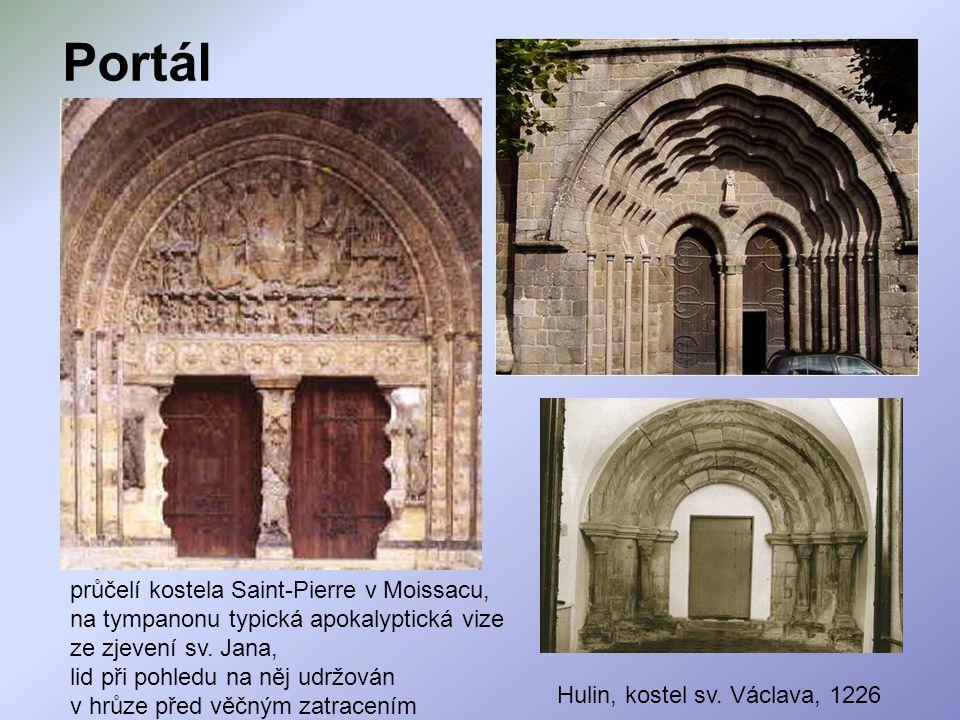 Portál průčelí kostela Saint-Pierre v Moissacu, na tympanonu typická apokalyptická vize ze zjevení sv. Jana,