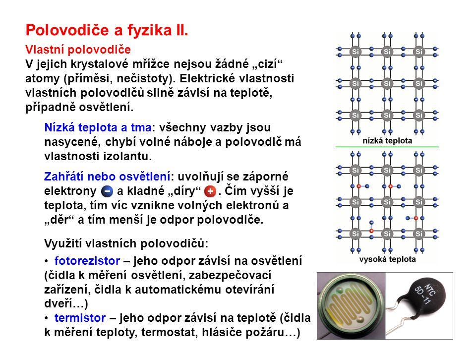Polovodiče a fyzika II. Vlastní polovodiče