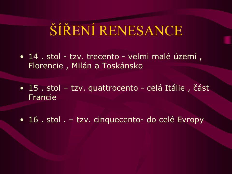 ŠÍŘENÍ RENESANCE 14 . stol - tzv. trecento - velmi malé území , Florencie , Milán a Toskánsko.