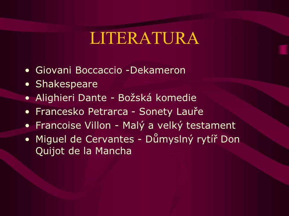 LITERATURA Giovani Boccaccio -Dekameron Shakespeare