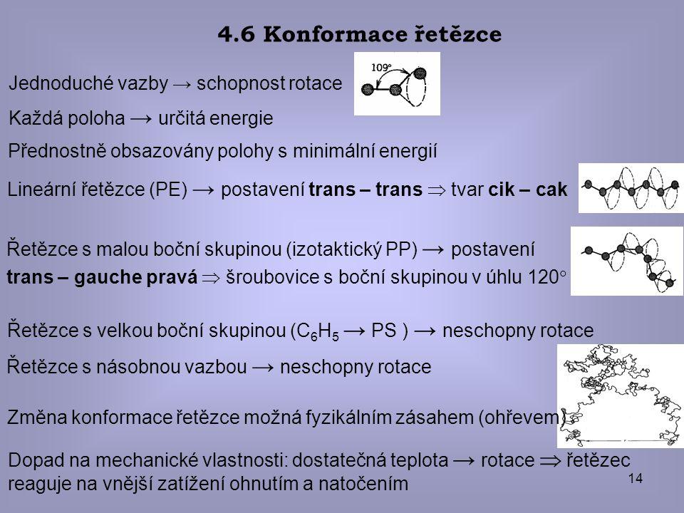 4.6 Konformace řetězce Jednoduché vazby → schopnost rotace