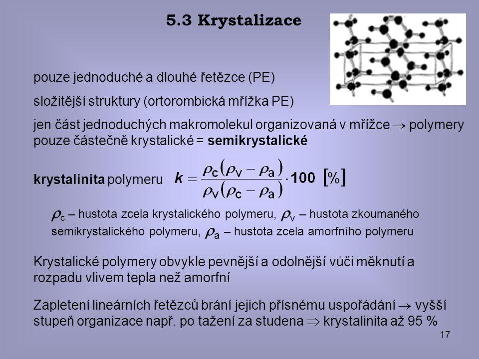 5.3 Krystalizace pouze jednoduché a dlouhé řetězce (PE) složitější struktury (ortorombická mřížka PE)
