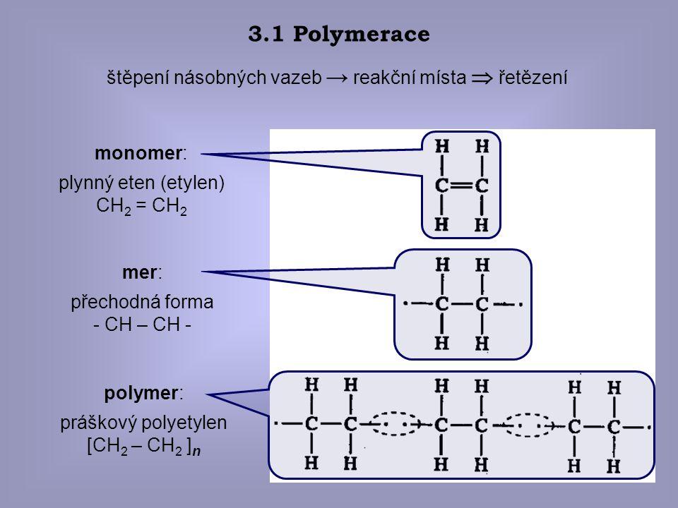 3.1 Polymerace štěpení násobných vazeb → reakční místa  řetězení