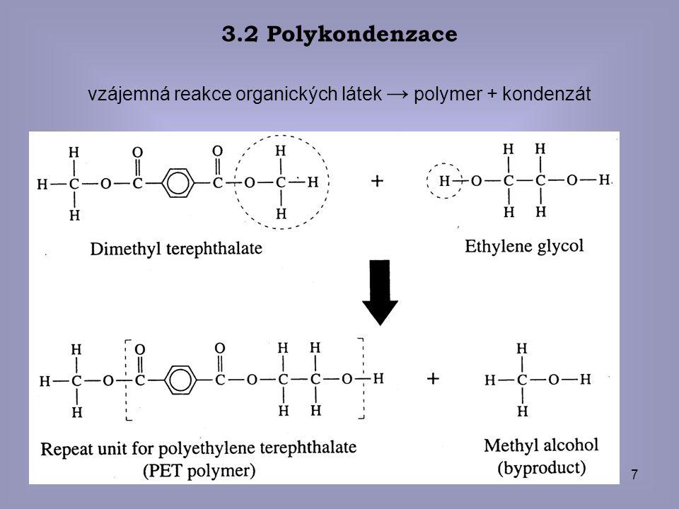 vzájemná reakce organických látek → polymer + kondenzát