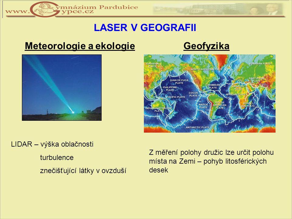 LASER V GEOGRAFII Meteorologie a ekologie Geofyzika