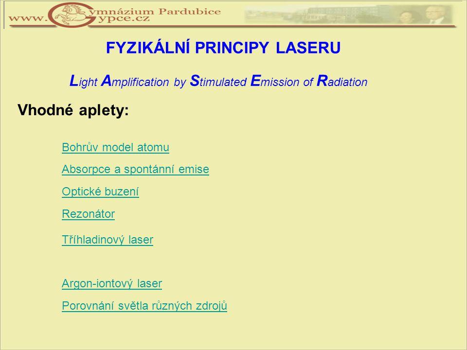 FYZIKÁLNÍ PRINCIPY LASERU