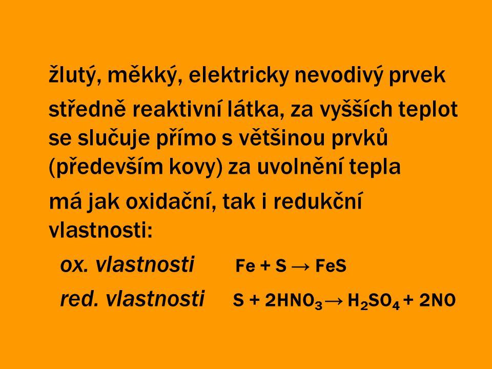 žlutý, měkký, elektricky nevodivý prvek