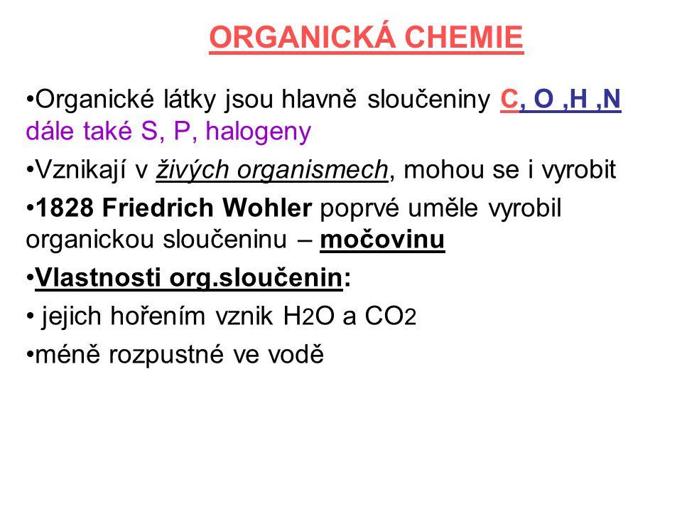 ORGANICKÁ CHEMIE Organické látky jsou hlavně sloučeniny C, O ,H ,N dále také S, P, halogeny. Vznikají v živých organismech, mohou se i vyrobit.