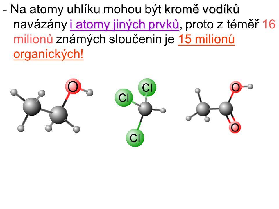 - Na atomy uhlíku mohou být kromě vodíků navázány i atomy jiných prvků, proto z téměř 16 milionů známých sloučenin je 15 milionů organických!