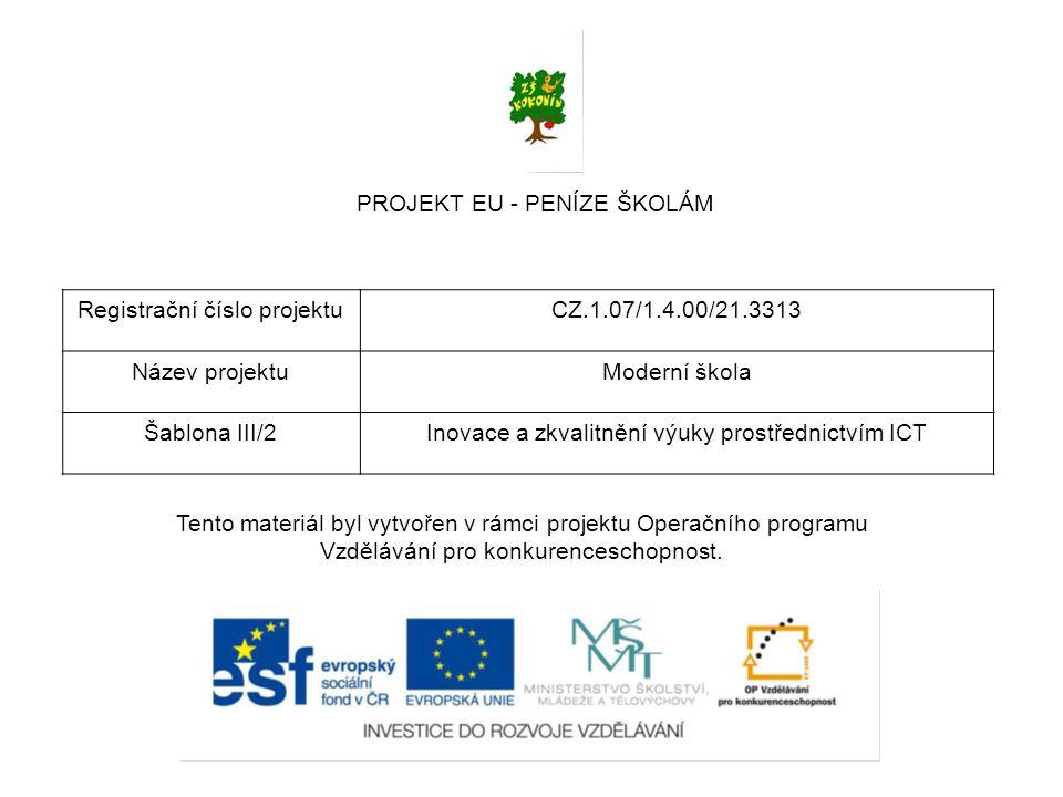 PROJEKT EU - PENÍZE ŠKOLÁM Registrační číslo projektu