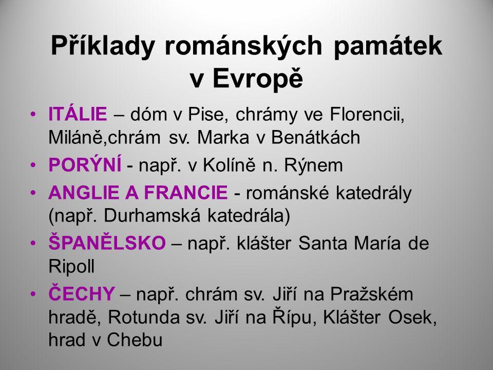 Příklady románských památek v Evropě