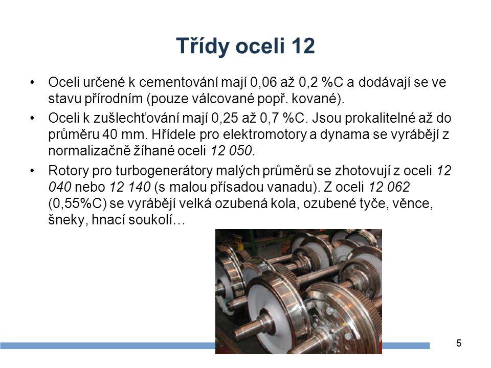 Zdroje Třídy oceli 12. Oceli určené k cementování mají 0,06 až 0,2 %C a dodávají se ve stavu přírodním (pouze válcované popř. kované).