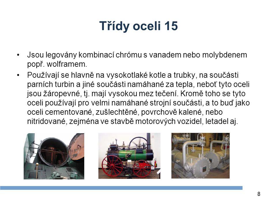 Zdroje Třídy oceli 15. Jsou legovány kombinací chrómu s vanadem nebo molybdenem popř. wolframem.