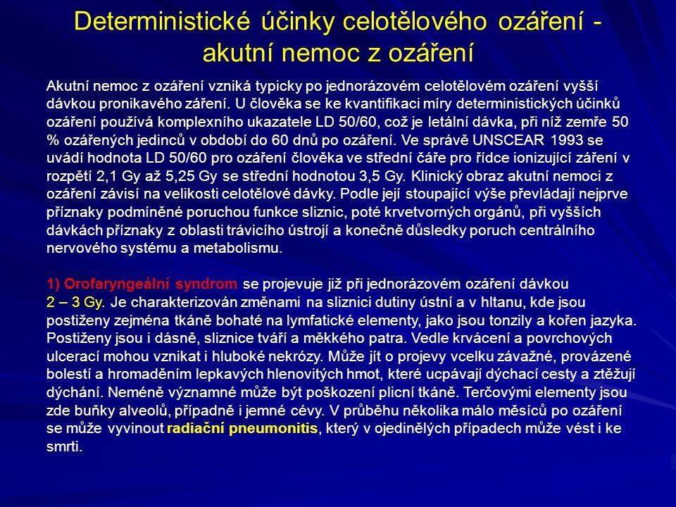 Deterministické účinky celotělového ozáření - akutní nemoc z ozáření