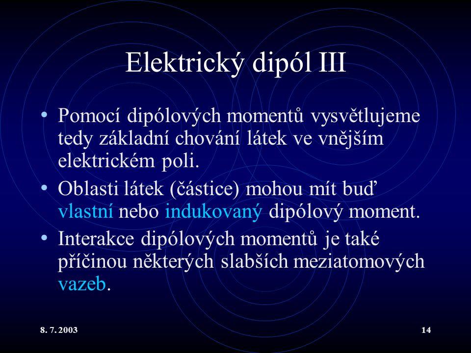 Elektrický dipól III Pomocí dipólových momentů vysvětlujeme tedy základní chování látek ve vnějším elektrickém poli.