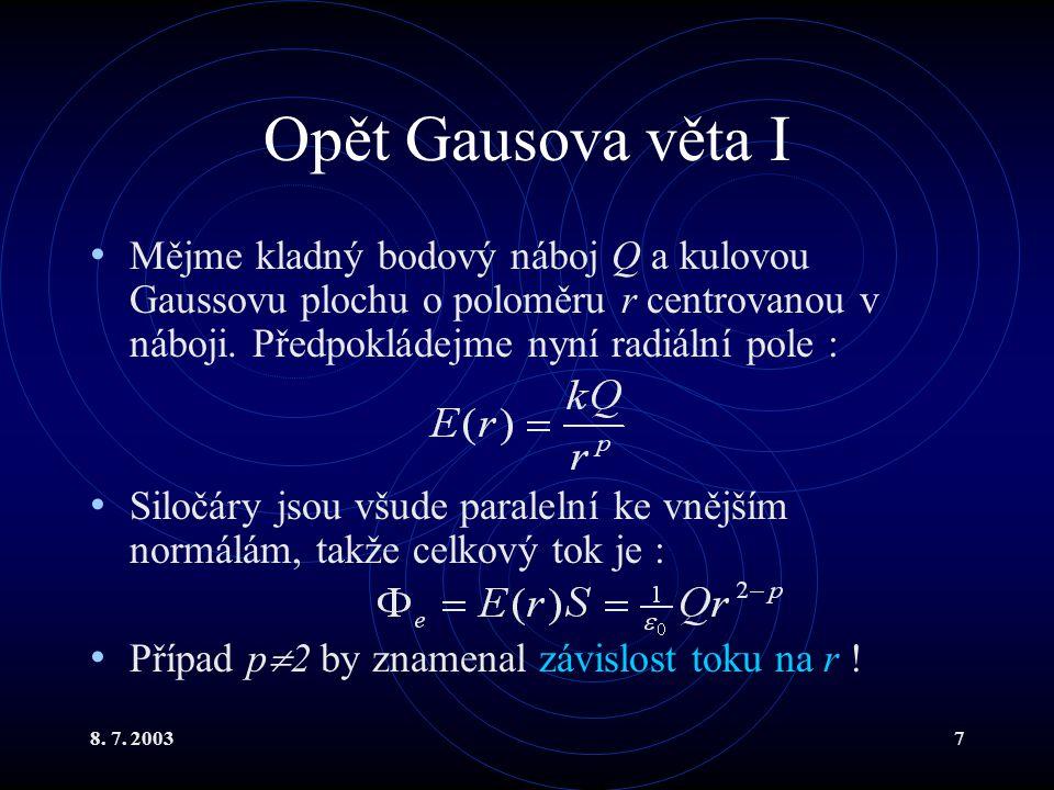 Opět Gausova věta I Mějme kladný bodový náboj Q a kulovou Gaussovu plochu o poloměru r centrovanou v náboji. Předpokládejme nyní radiální pole :