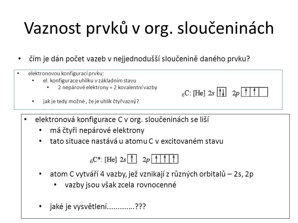 Vaznost prvků v org. sloučeninách