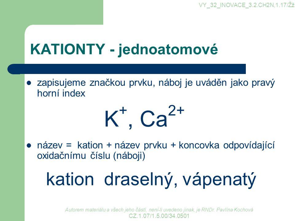 KATIONTY - jednoatomové