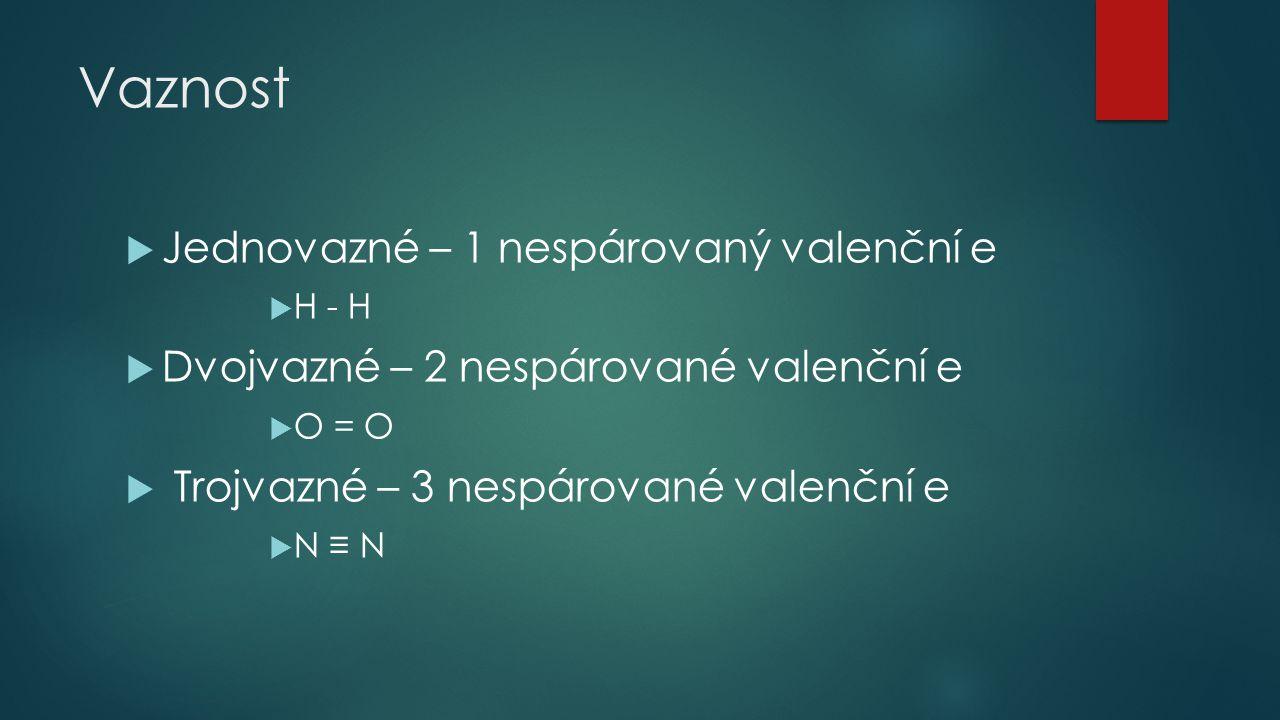Vaznost Jednovazné – 1 nespárovaný valenční e