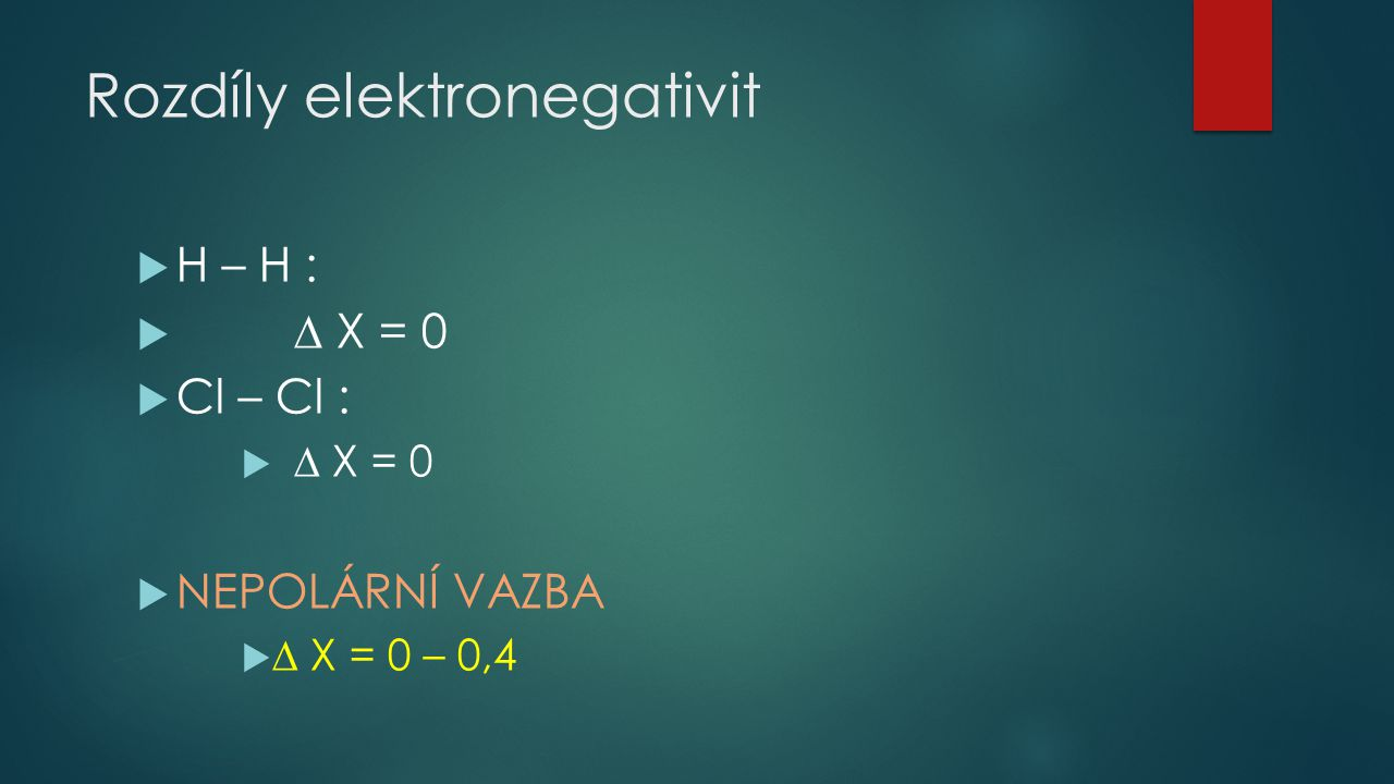 Rozdíly elektronegativit