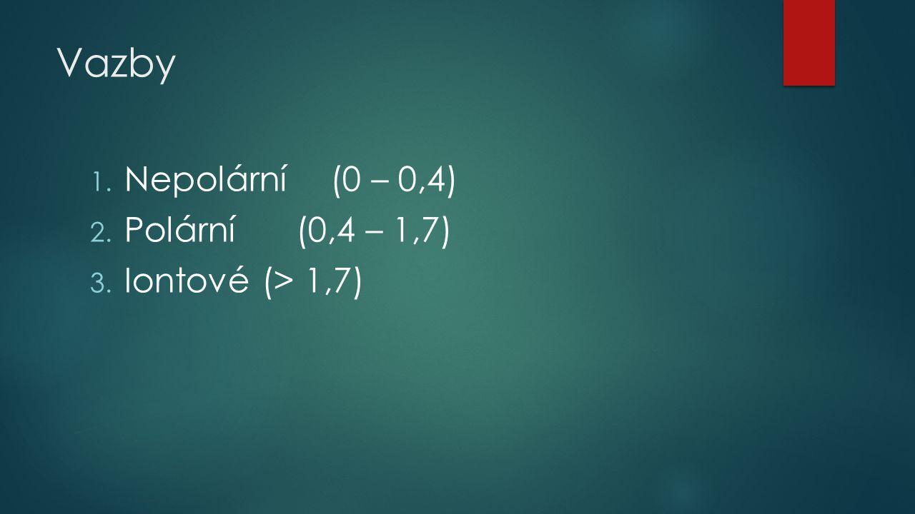 Vazby Nepolární (0 – 0,4) Polární (0,4 – 1,7) Iontové (> 1,7)