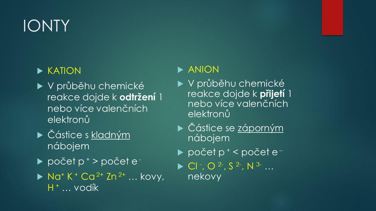 IONTY KATION. V průběhu chemické reakce dojde k odtržení 1 nebo více valenčních elektronů. Částice s kladným nábojem.