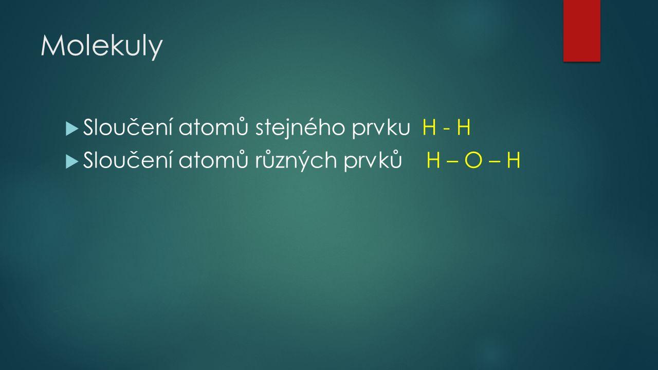 Molekuly Sloučení atomů stejného prvku H - H