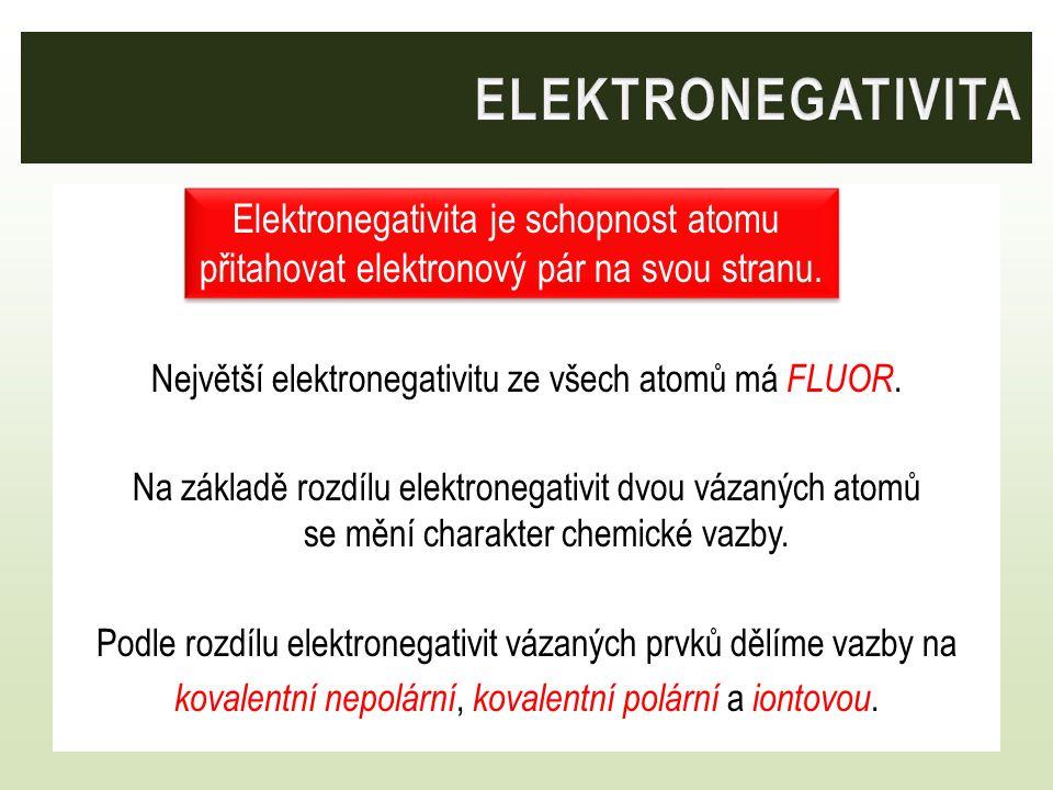 elektronegativita Elektronegativita je schopnost atomu