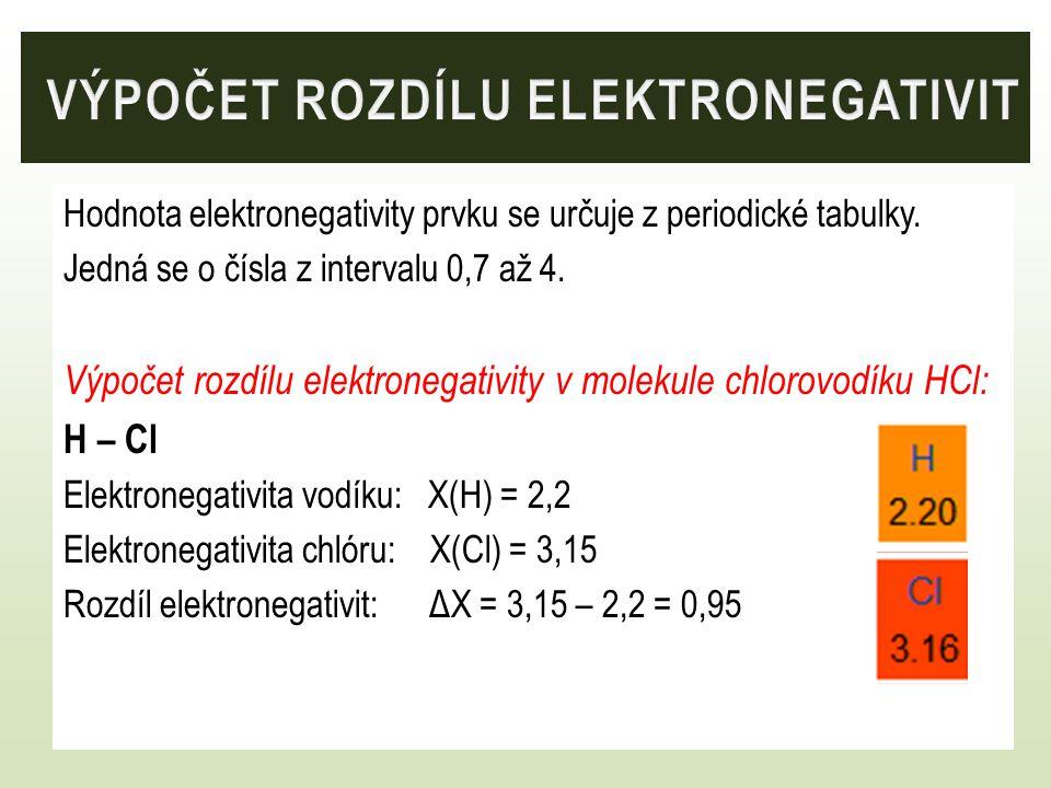 Výpočet rozdílu elektronegativit