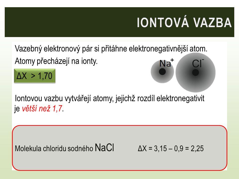 iontová vazba Vazebný elektronový pár si přitáhne elektronegativnější atom. Atomy přecházejí na ionty.
