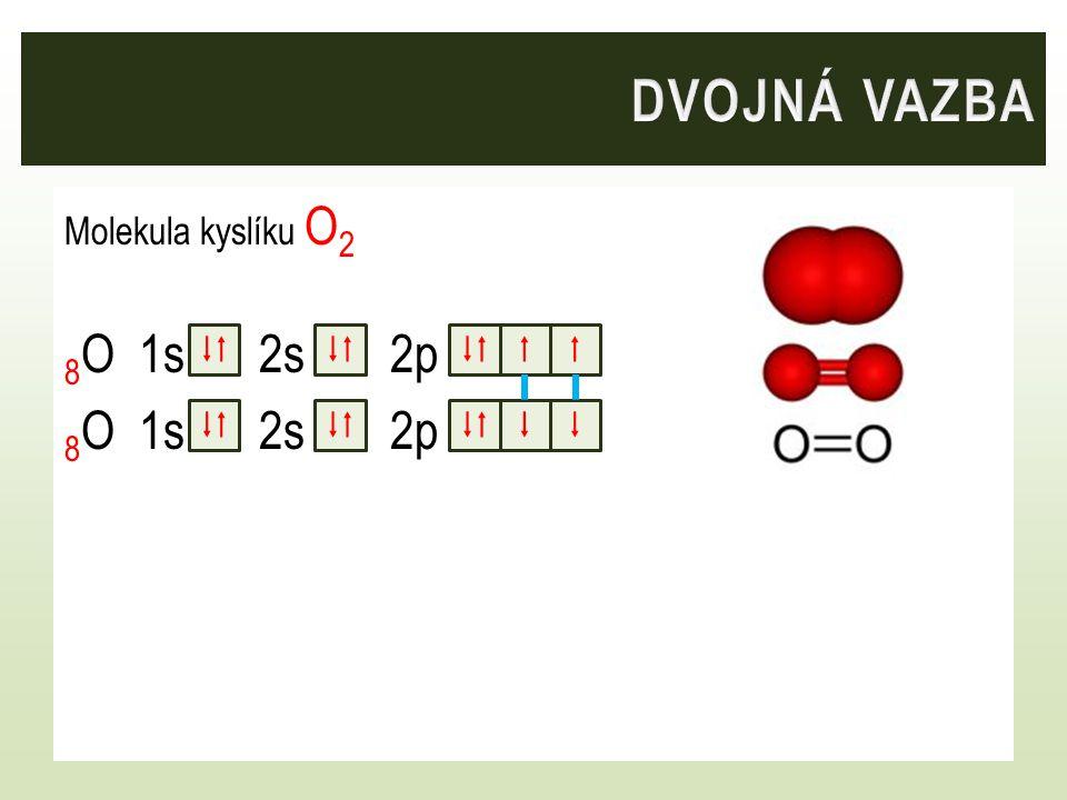 Dvojná vazba Molekula kyslíku O2 8O 1s 2s 2p    F    F