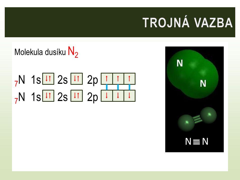 trojná vazba Molekula dusíku N2 7N 1s 2s 2p    F    N – N