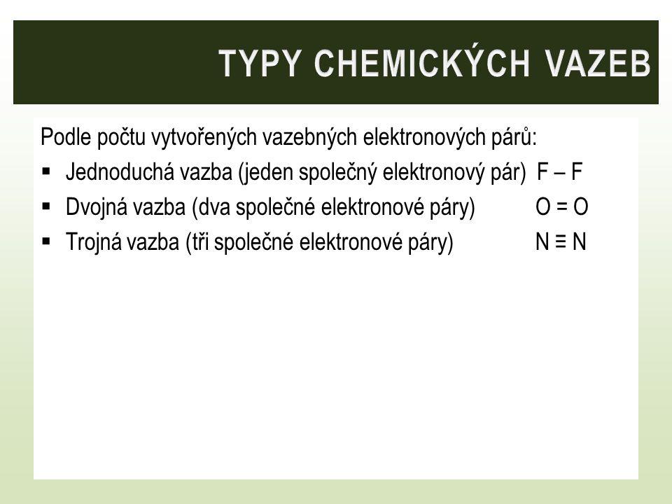 Typy chemických vazeb Podle počtu vytvořených vazebných elektronových párů: Jednoduchá vazba (jeden společný elektronový pár) F – F.